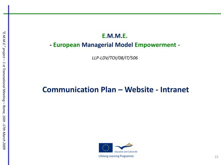 Communication Plan – Website - Intranet