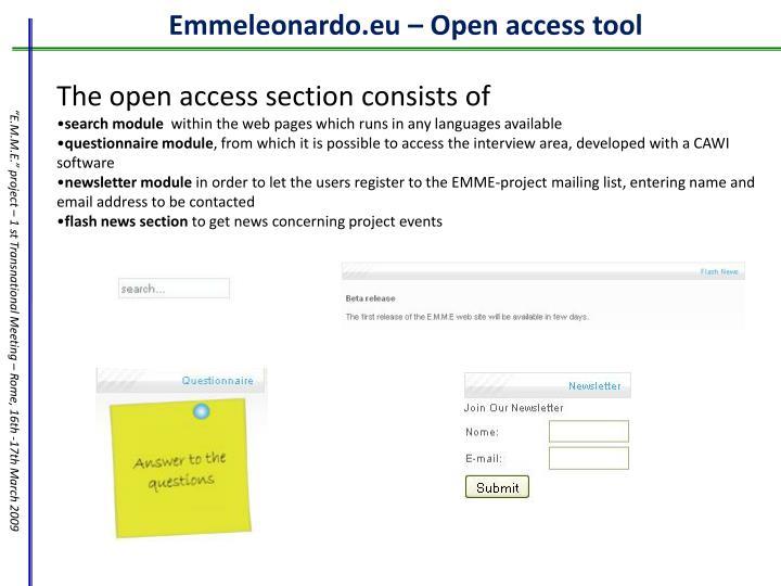 Emmeleonardo.eu – Open access tool
