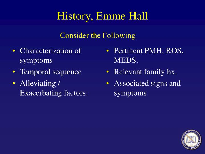 History, Emme Hall