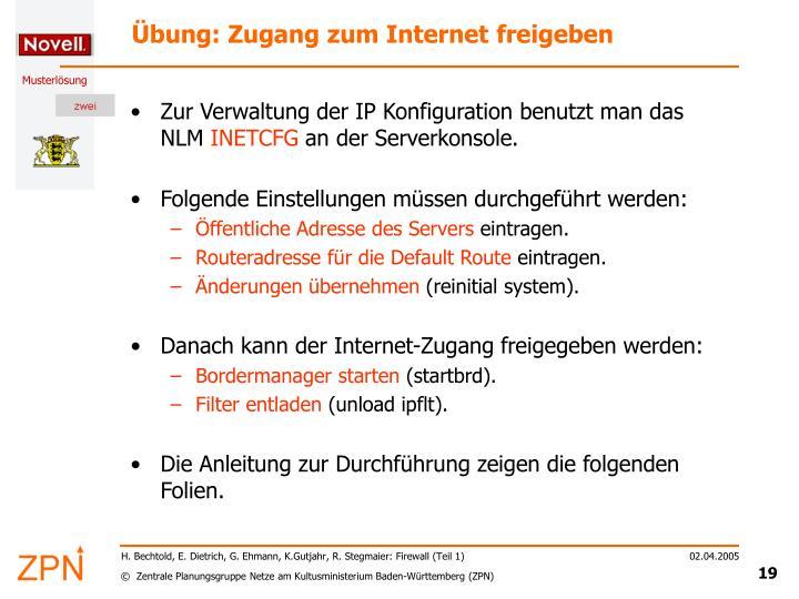Übung: Zugang zum Internet freigeben