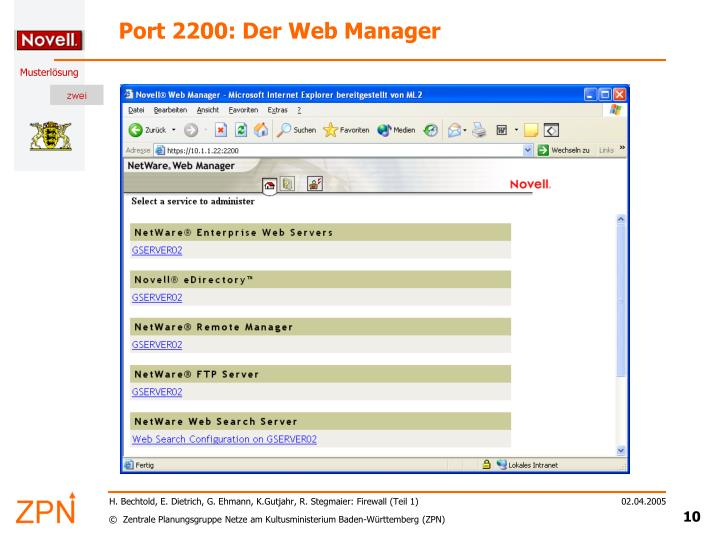Port 2200: Der Web Manager