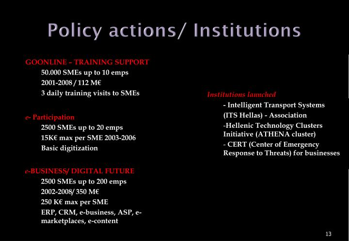 Policy actions/ Institutions