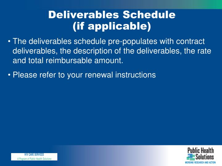Deliverables Schedule