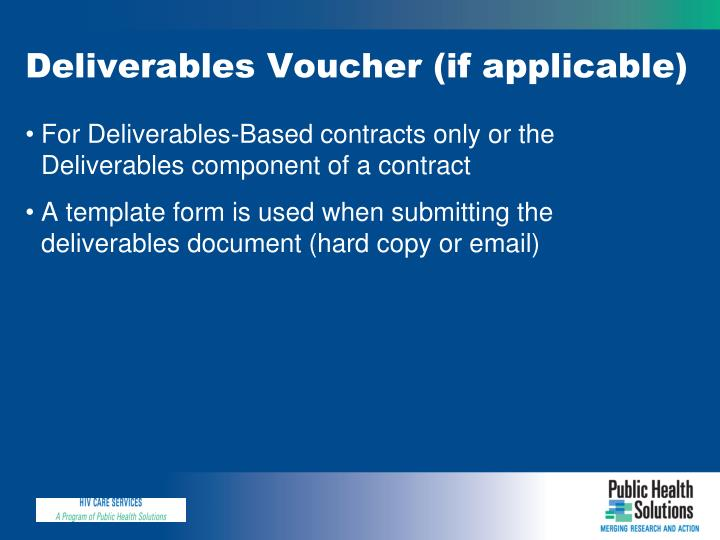 Deliverables Voucher (if applicable)