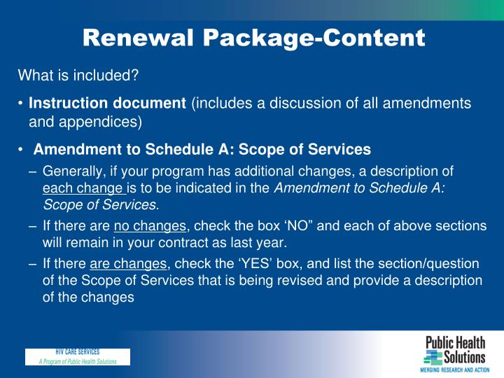 Renewal Package-Content