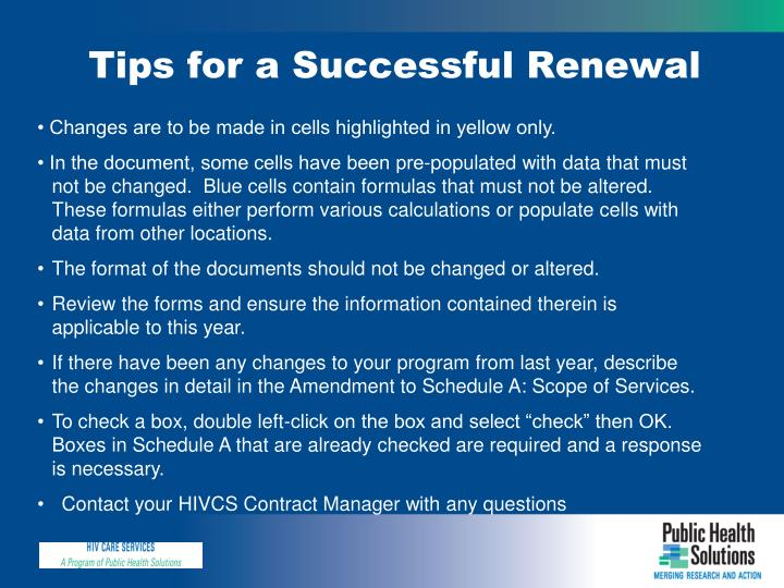 Tips for a Successful Renewal