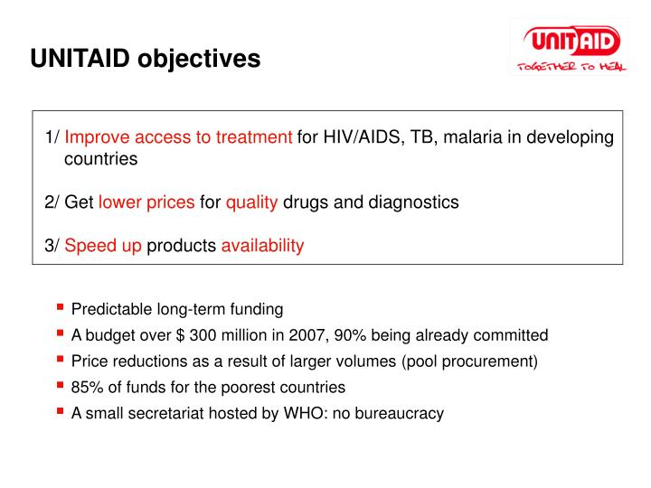 UNITAID objectives