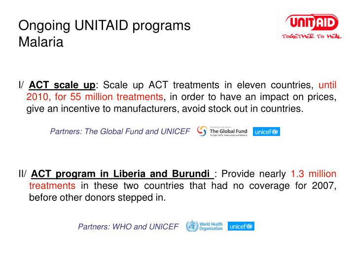 Ongoing UNITAID programs