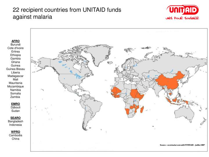 22 recipient countries from UNITAID funds