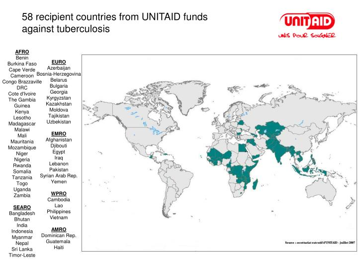 58 recipient countries from UNITAID funds