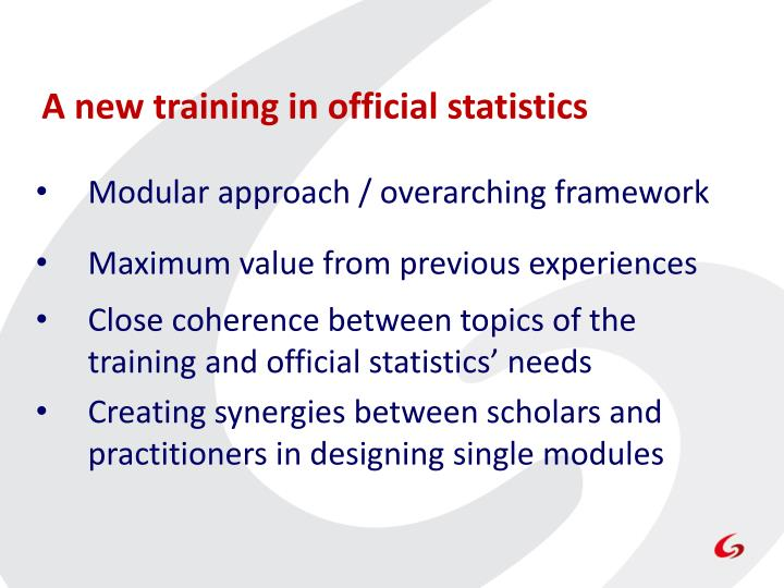 A new training in official statistics