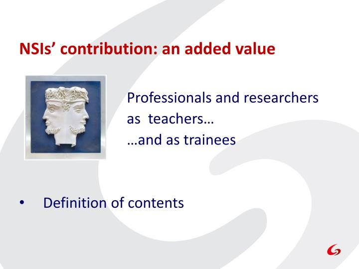 NSIs' contribution: an added value
