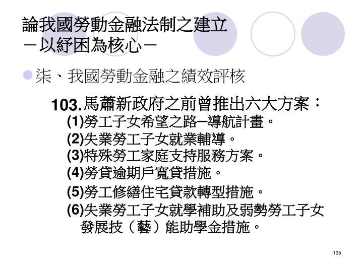 馬蕭新政府之前曾推出六大方案: