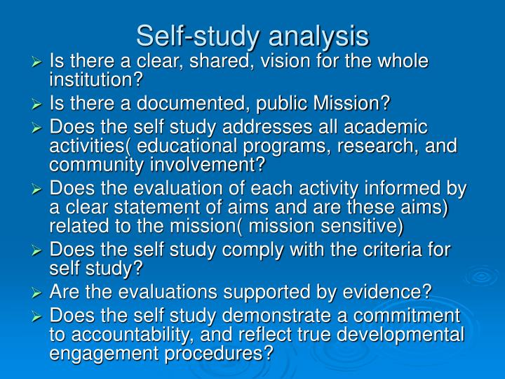 Self-study analysis