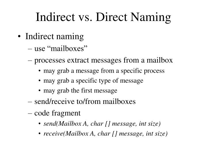 Indirect vs. Direct Naming