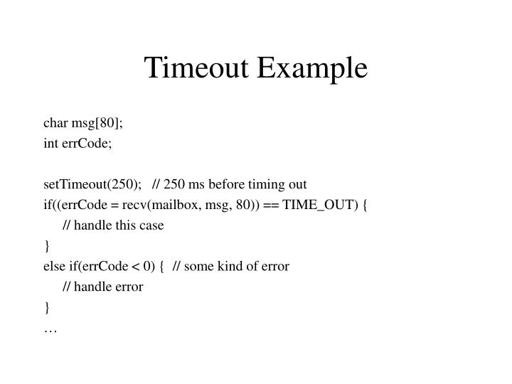 Timeout Example