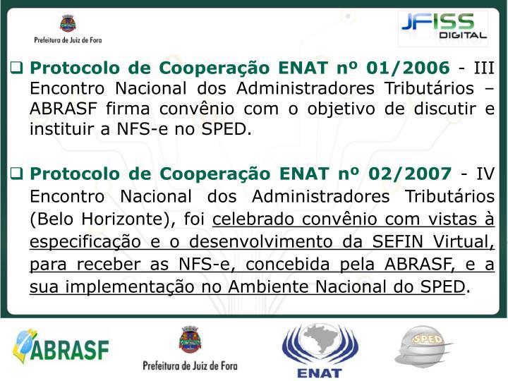 Protocolo de Cooperação ENAT nº 01/2006