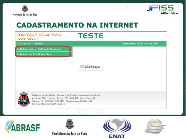 CADASTRAMENTO NA INTERNET