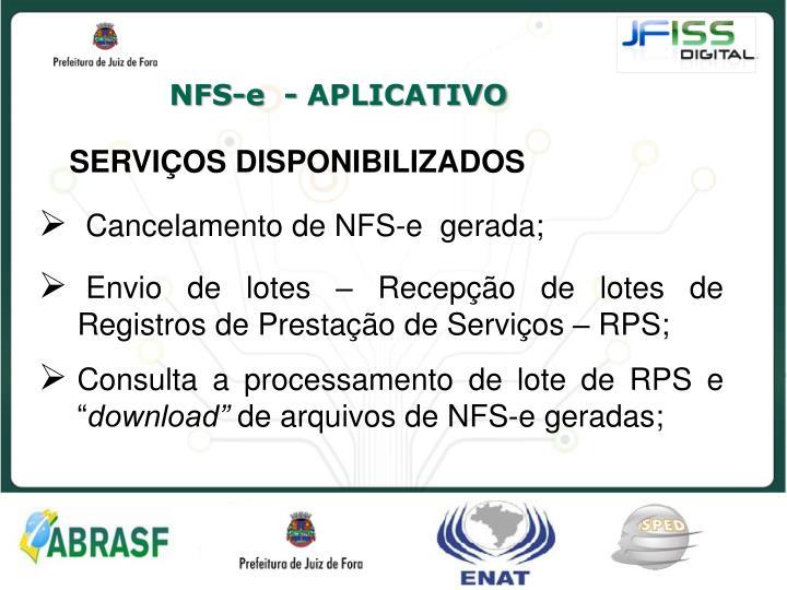 NFS-e  - APLICATIVO
