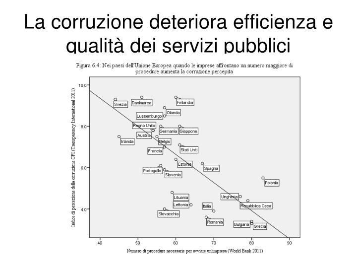 La corruzione deteriora efficienza e qualità dei servizi pubblici