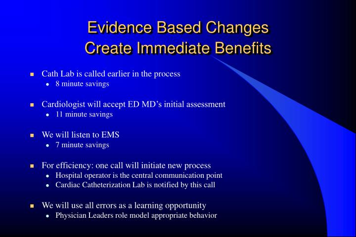 Evidence Based Changes