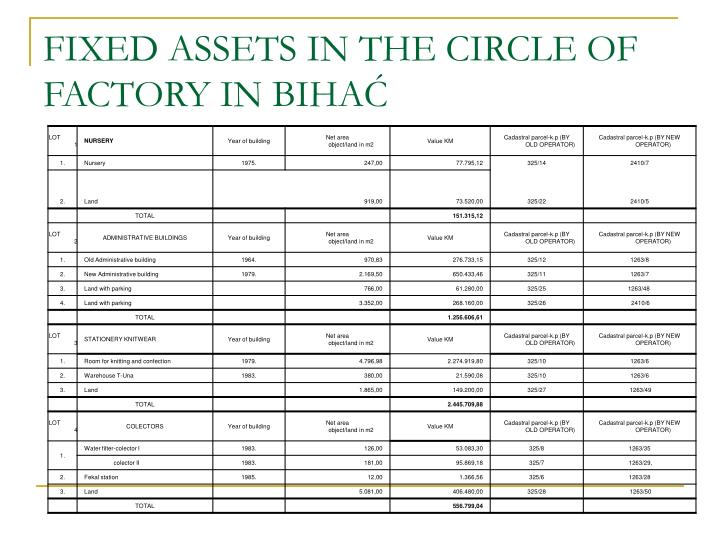 FIXED ASSETS IN THE CIRCLE OF FACTORY IN BIHAĆ