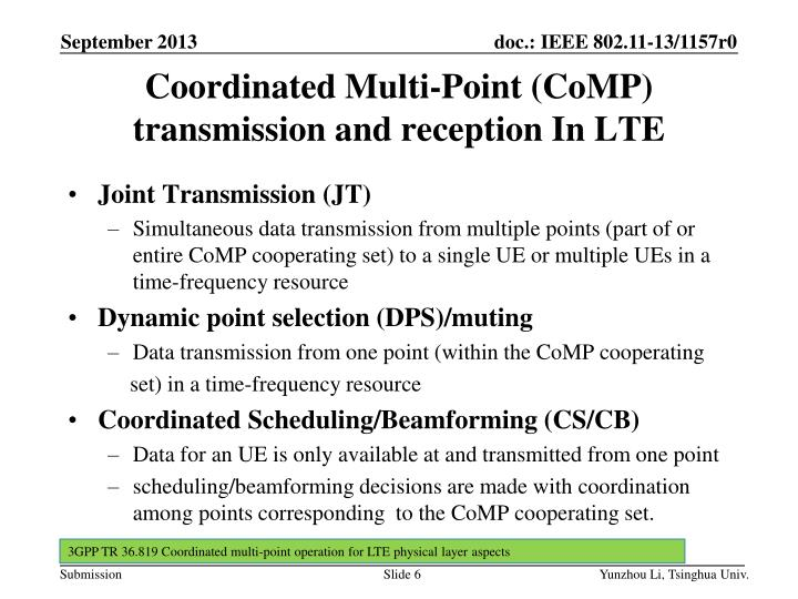 Coordinated Multi-Point (CoMP) transmission and reception