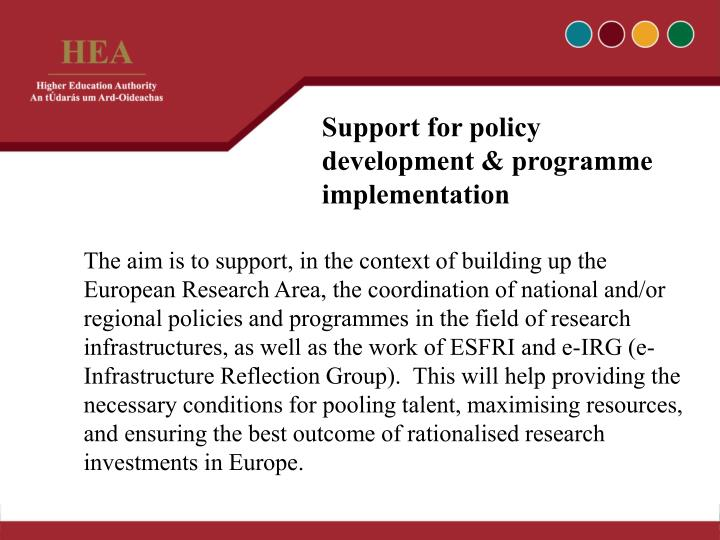 Support for policy development & programme implementation