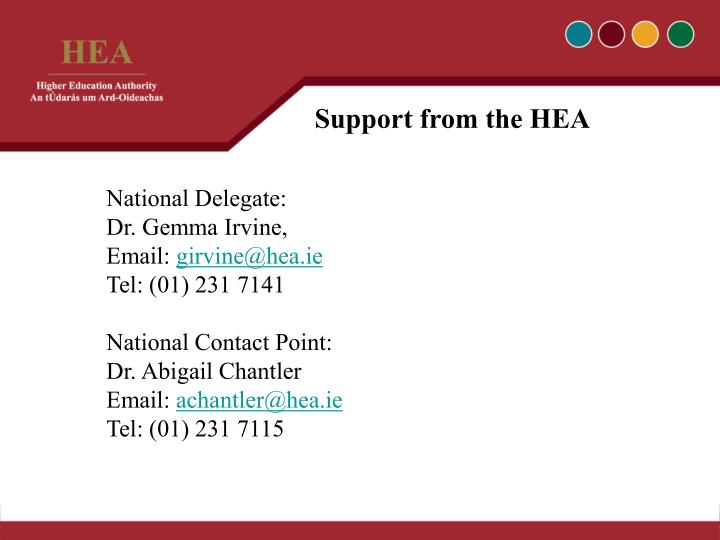 Support from the HEA