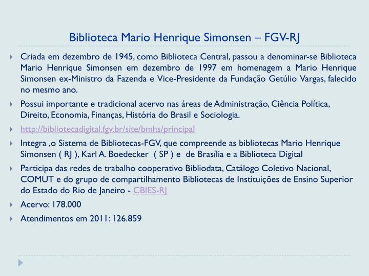 Biblioteca Mario Henrique Simonsen – FGV-RJ