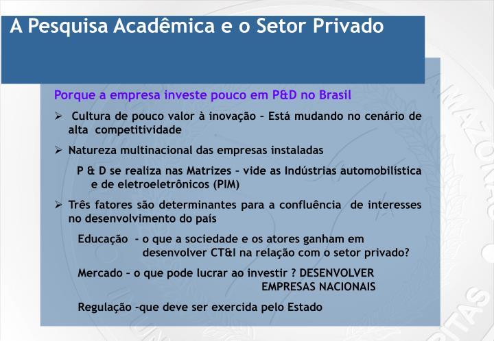 A Pesquisa Acadêmica e o Setor Privado