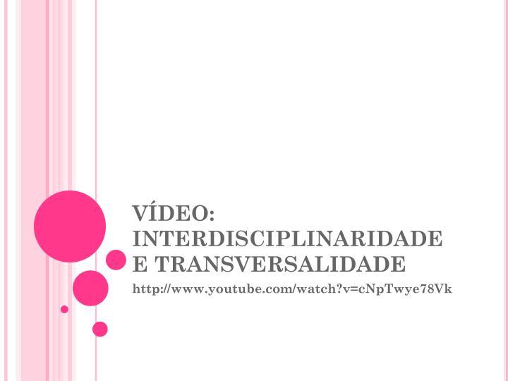VÍDEO: INTERDISCIPLINARIDADE E TRANSVERSALIDADE