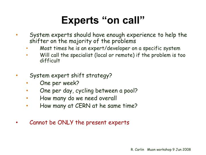 "Experts ""on call"""