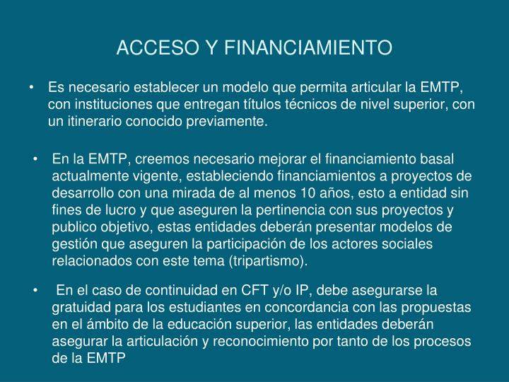 ACCESO Y FINANCIAMIENTO