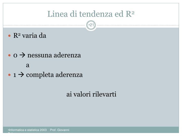 Linea di tendenza ed R