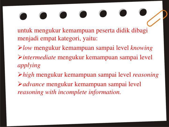 untuk mengukur kemampuan peserta didik dibagi menjadi empat kategori, yaitu