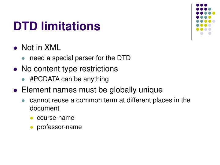 DTD limitations