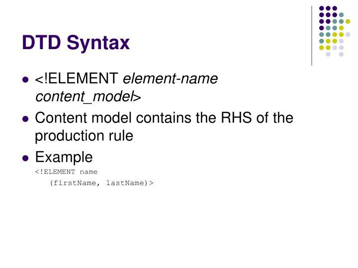 DTD Syntax