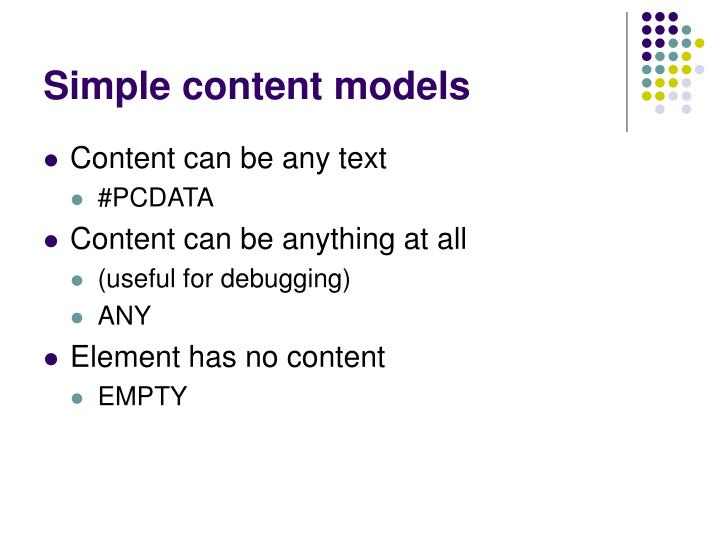Simple content models