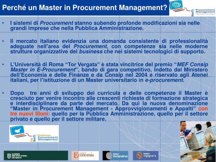 Perché un Master in Procurement Management?