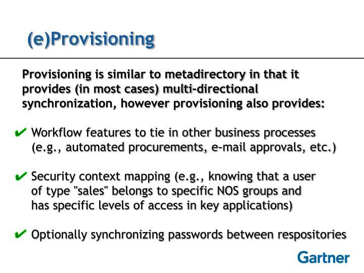 (e)Provisioning