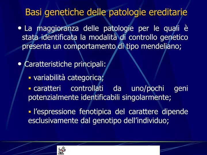 Basi genetiche delle patologie ereditarie