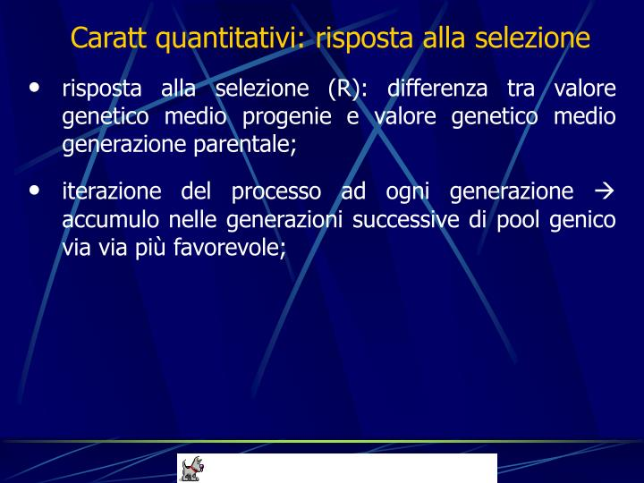 Caratt quantitativi: risposta alla selezione