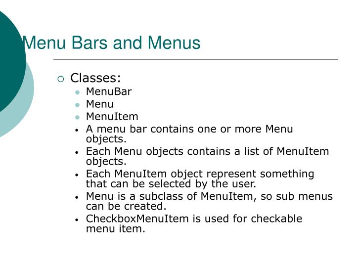 Menu Bars and Menus