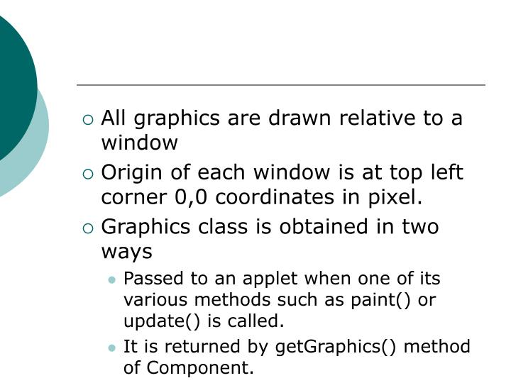 All graphics are drawn relative to a window