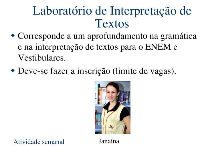 Laboratório de Interpretação de Textos