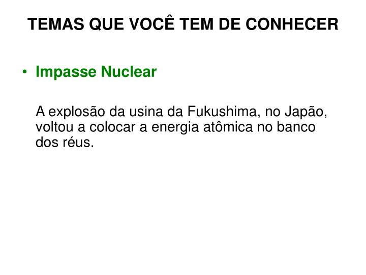 Impasse Nuclear