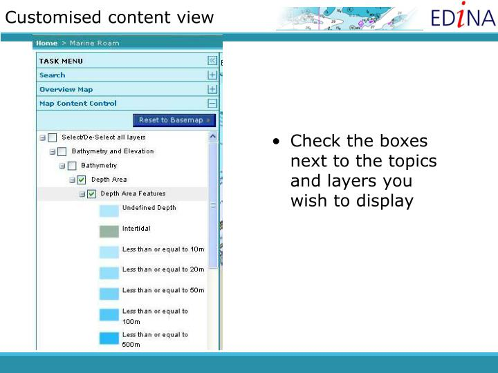 Customised content view