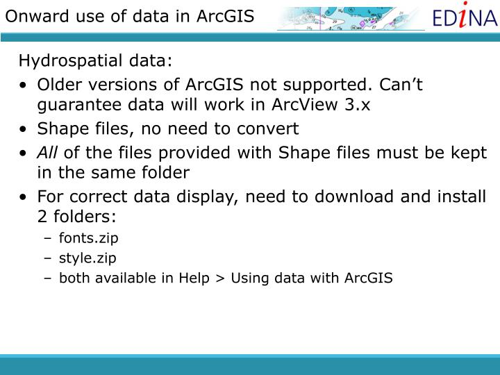 Onward use of data in ArcGIS