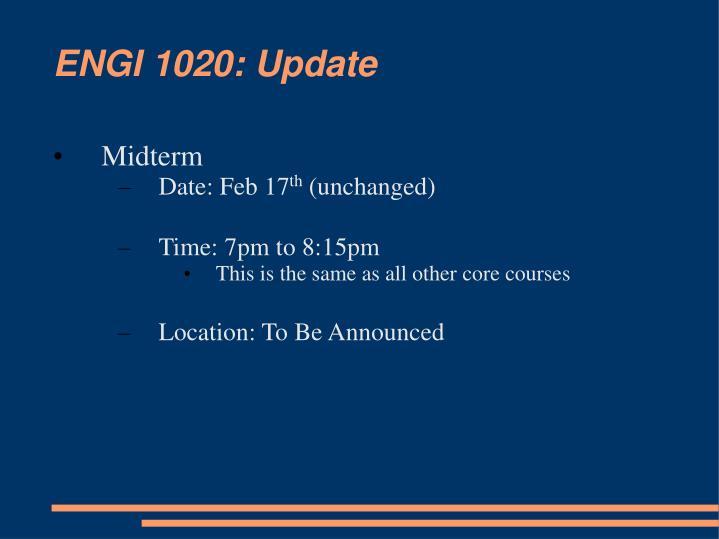 ENGI 1020: Update